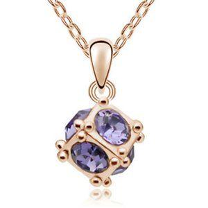 🟪Cube Crystal Rhinestone Gold / Purple Pendant 💜